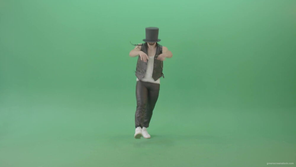 vj video background Funny-Man-in-Cylinder-Hat-and-black-fetish-costume-dancing-and-jumping-over-Green-Screen-4K-Video-Footage-1920_003