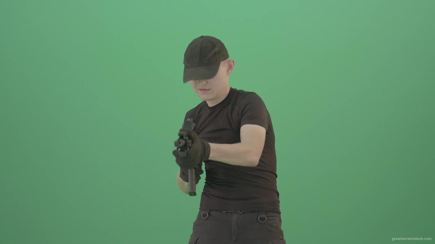 vj video background Funny-Small-boy-terrorist-shooting-enemies-from-machine-gun-isolated-on-green-screen-4K-Video-Footage-1920_003