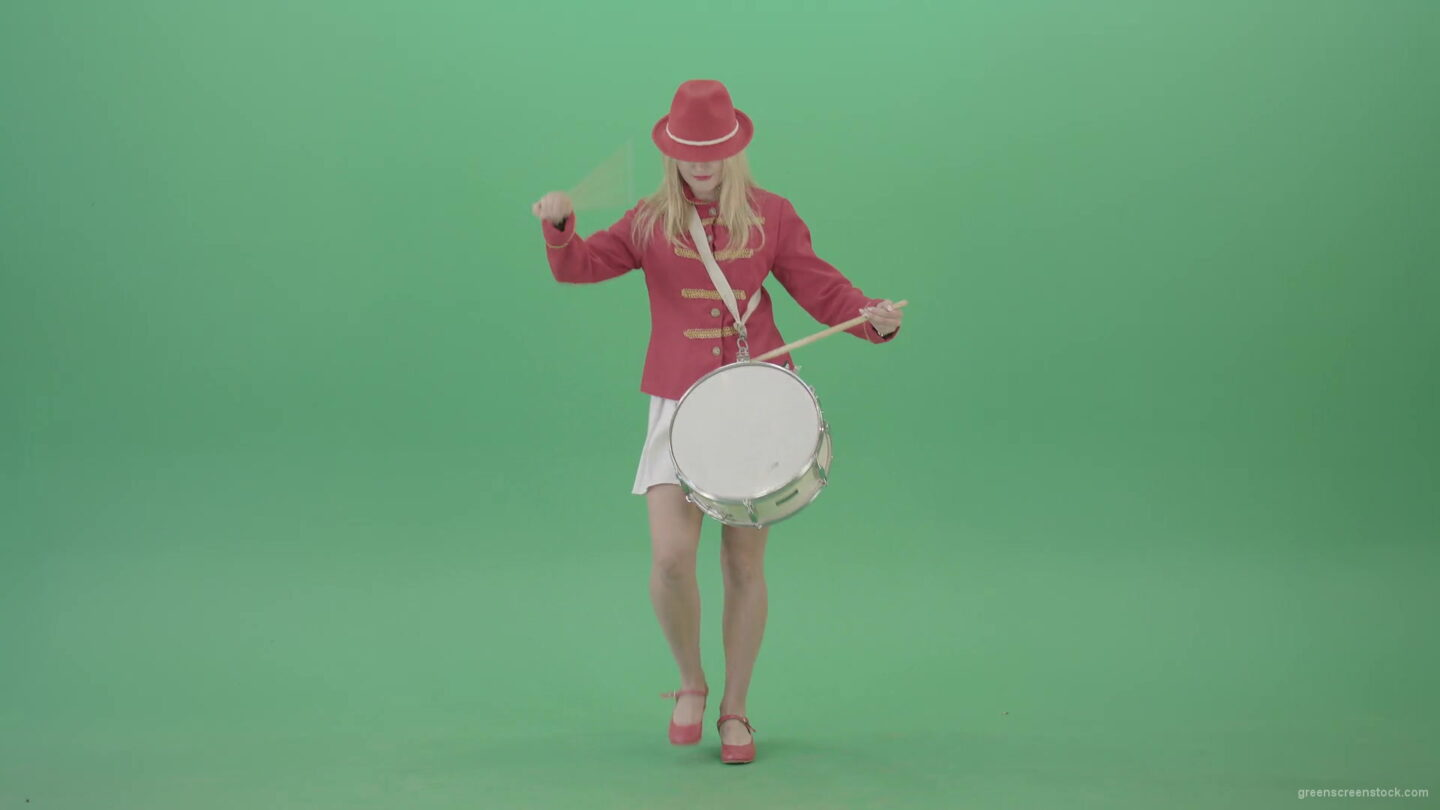 vj video background Girl-in-red-dress-marching-and-playing-drum-snare-music-instrument-over-green-screen-4K-Video-Footage-1920_003