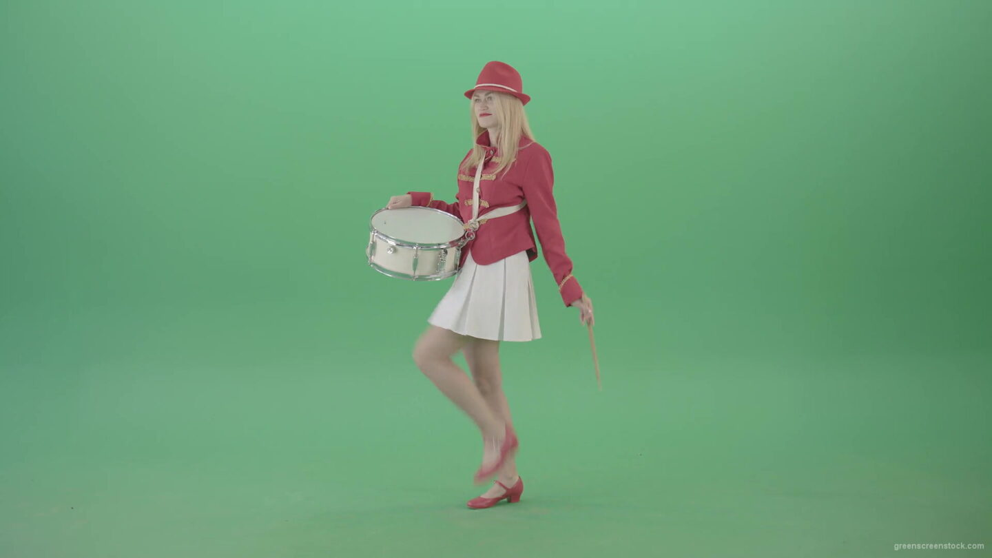 vj video background Girl-in-red-uniform-marching-and-play-snare-drum-on-green-screen-4K-Video-Footage-1920_003