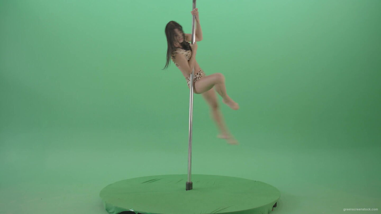 vj video background Gymnast-Girl-in-leopard-animal-underwear-spinning-fast-in-pole-dance-isolated-on-Green-Screen-4K-Video-Footage-1920_003