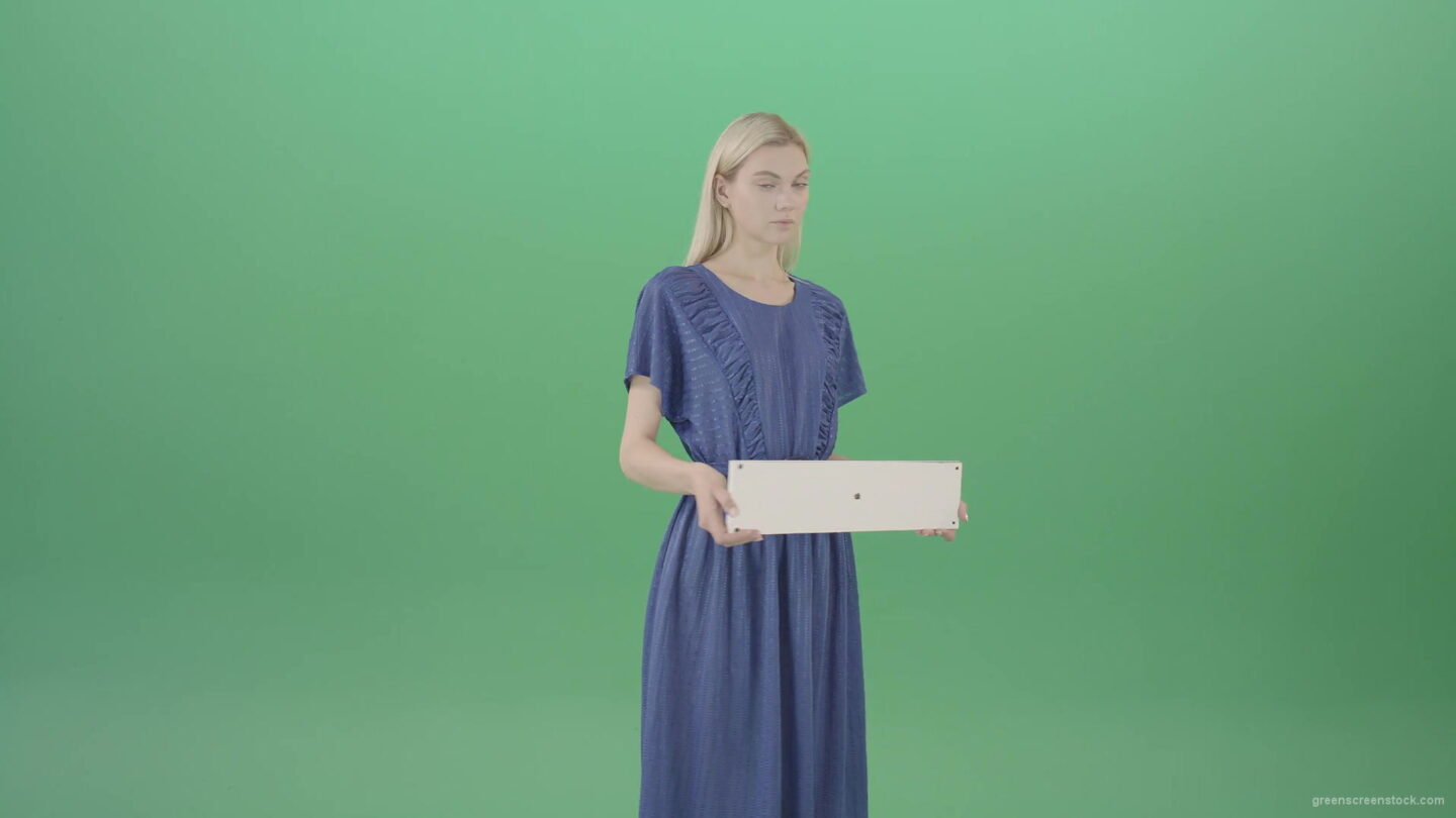 vj video background Housewife-in-blue-dress-and-with-text-plane-mockup-posing-isolated-on-Green-Screen-4K-Video-Footage-1-1920_003