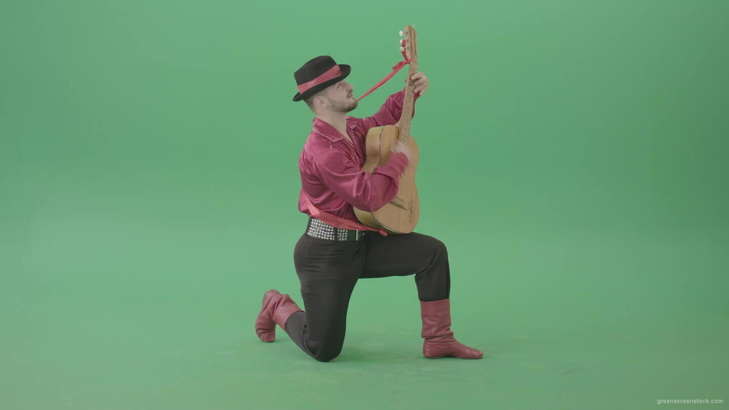 vj video background Man-in-Gipsy-costume-playing-love-song-on-guitar-isolated-on-green-screen-4K-Video-Footage-1920_003