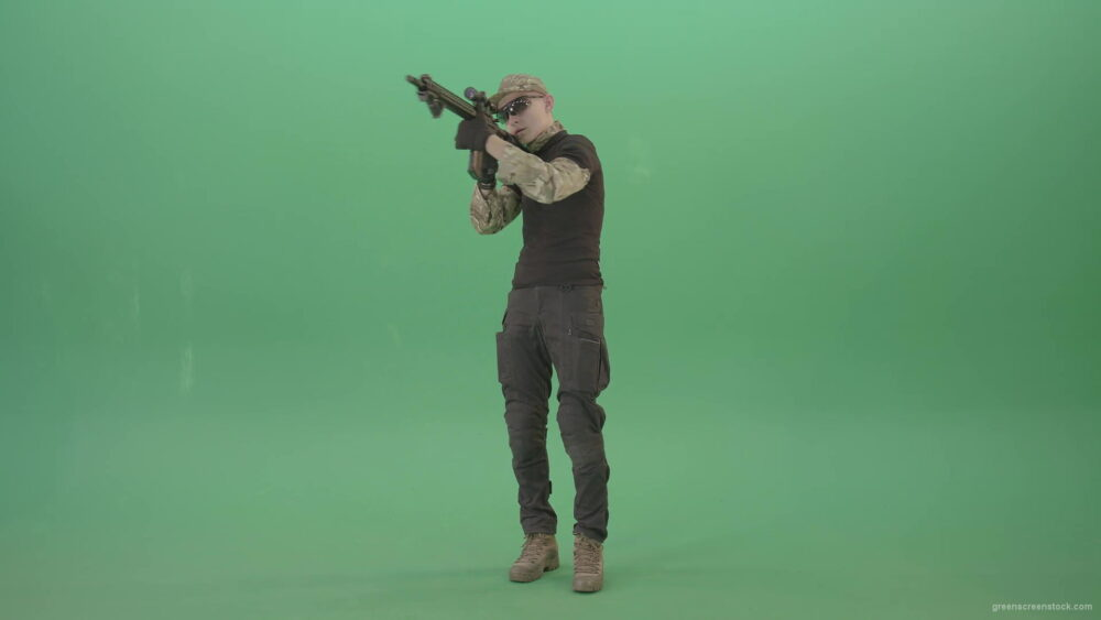 vj video background Man-in-Military-uniform-shooting-with-Army-machine-gun-isolated-on-Green-Screen-4K-Video-Footage-1920_003