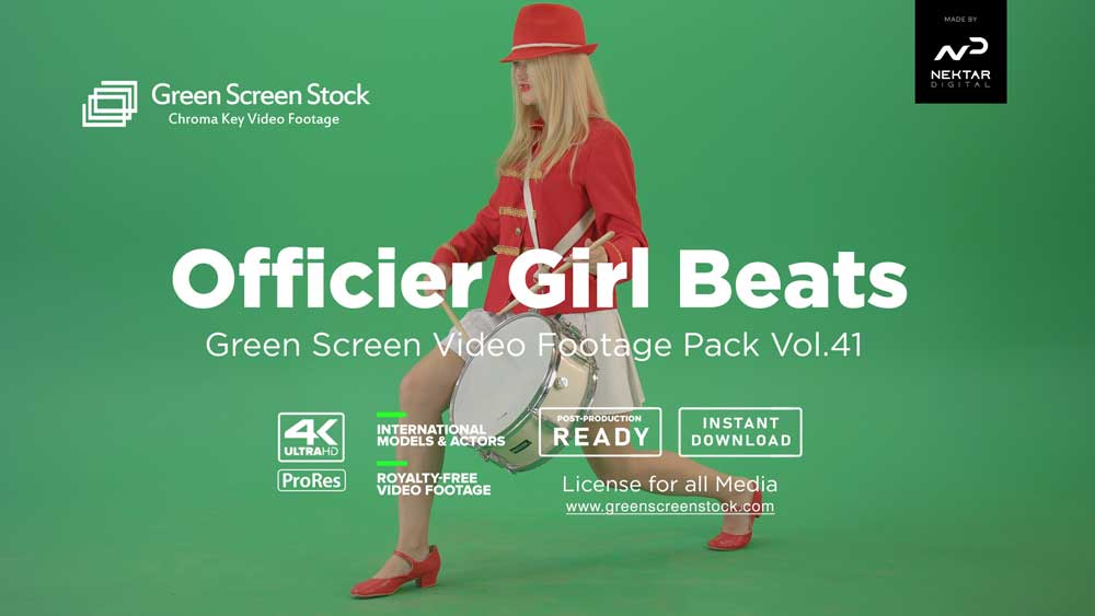 Officier-Girl-Beats-Green-Screen-Video-Footage
