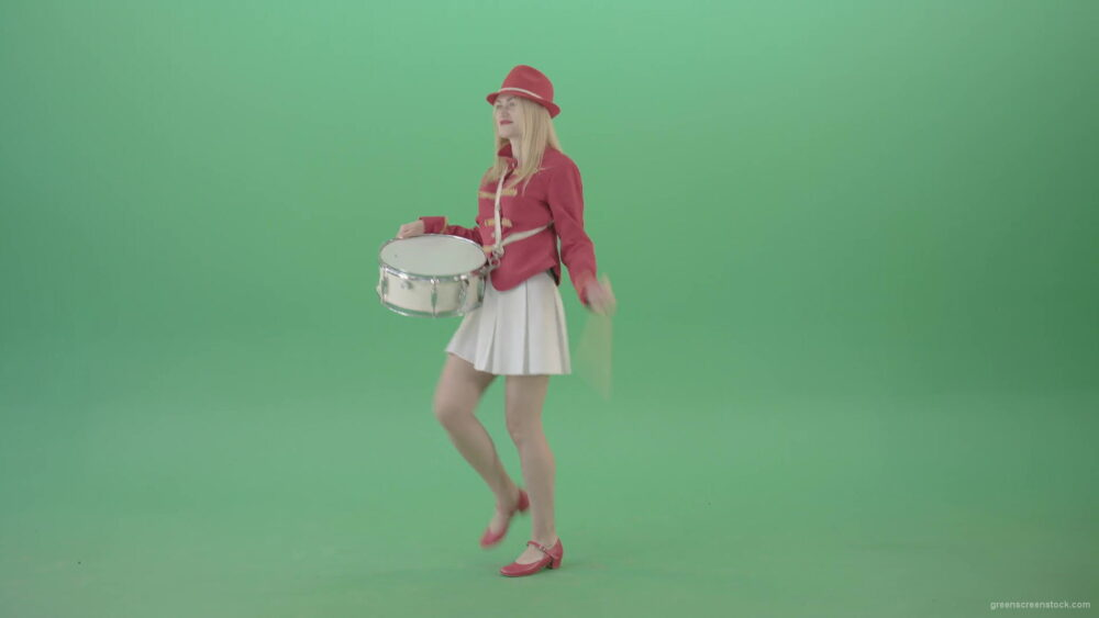 vj video background Red-Costume-Girl-in-Side-view-marching-on-green-screen-and-playing-snare-drum-4K-Video-Footage-1920_003