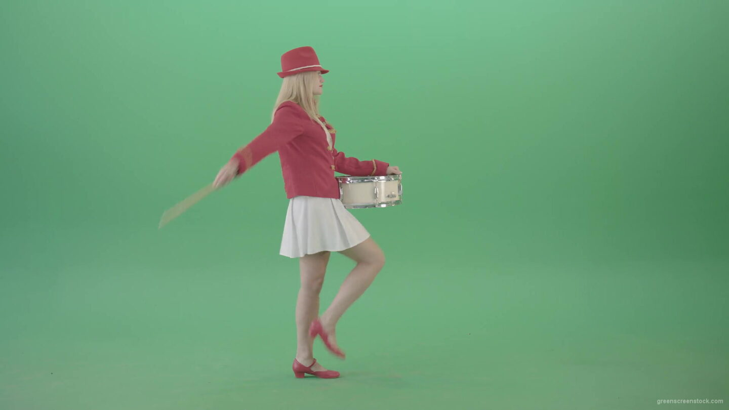 vj video background Side-view-marching-girl-play-white-snare-drum-in-red-uniform-on-green-screen-Video-Footage-1920_003