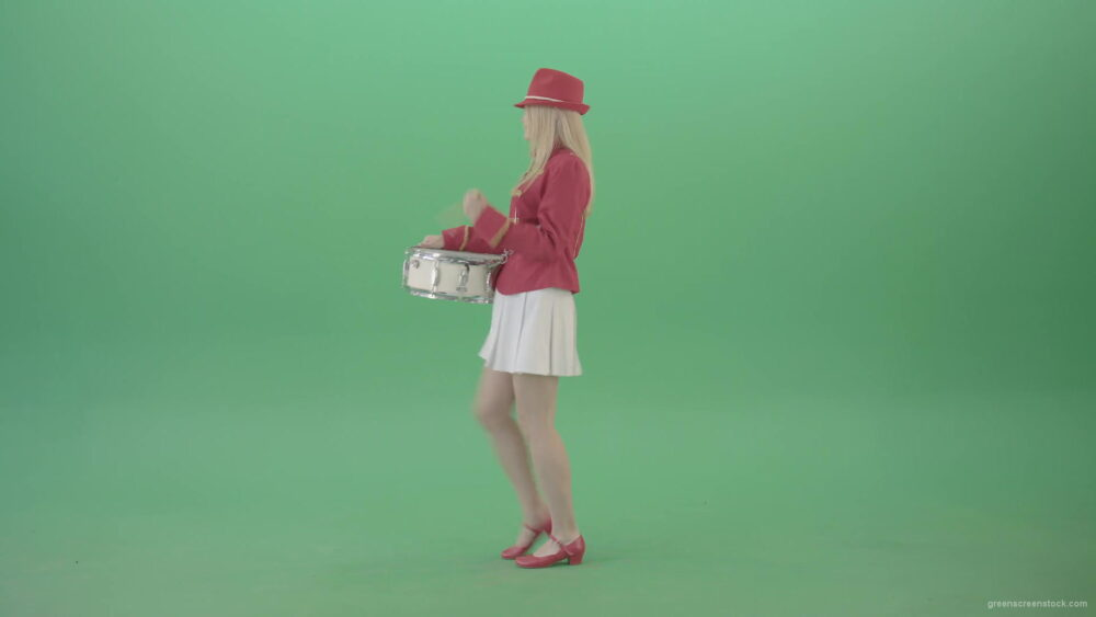 vj video background Side-view-of-blonde-girl-in-red-costume-playing-drums-isolated-on-green-screen-4K-Video-Footage-1920_003
