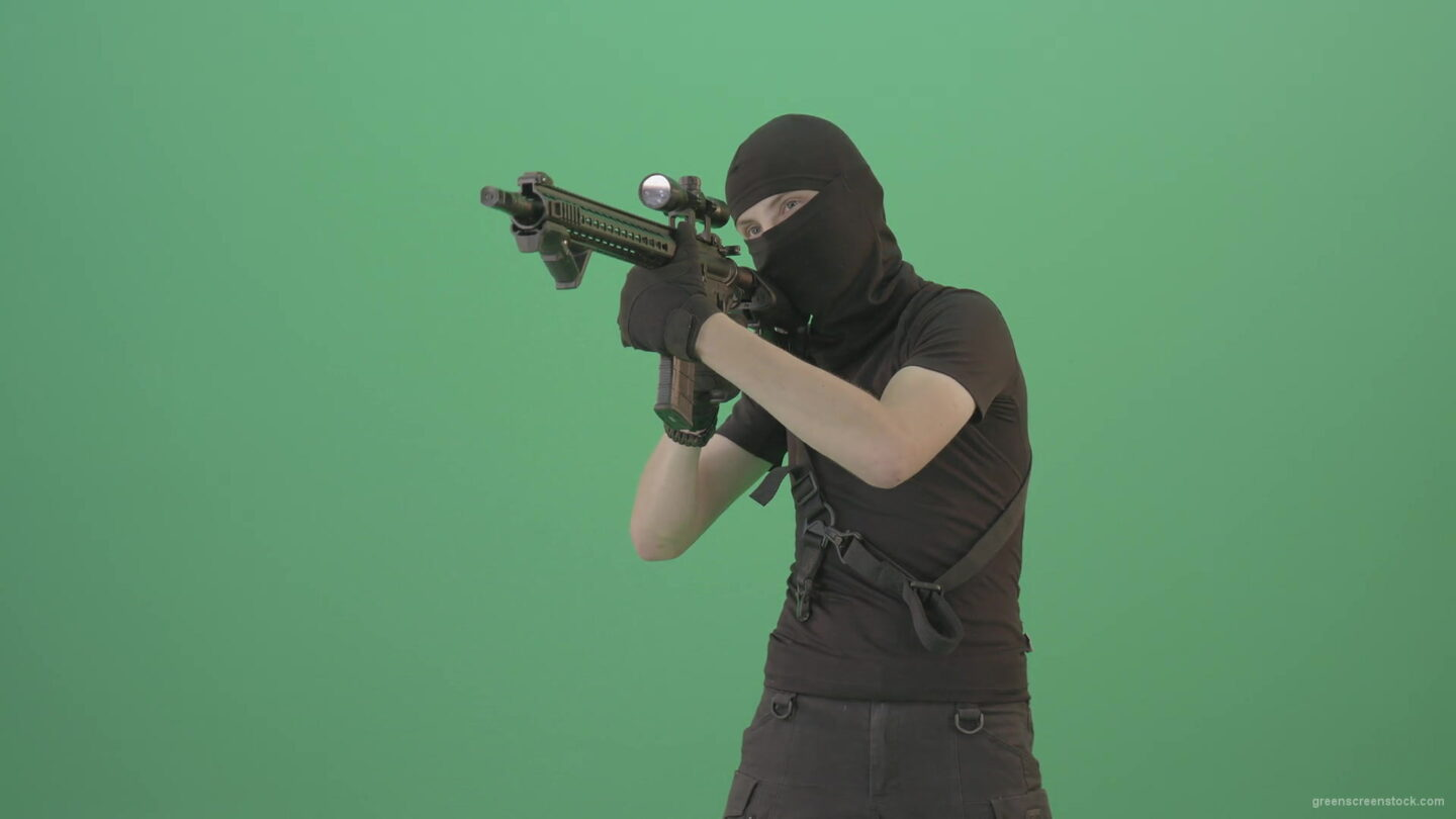 vj video background Soldier-in-black-mask-shooting-enemies-with-military-gun-on-green-screen-4K-Video-Footage-1920_003