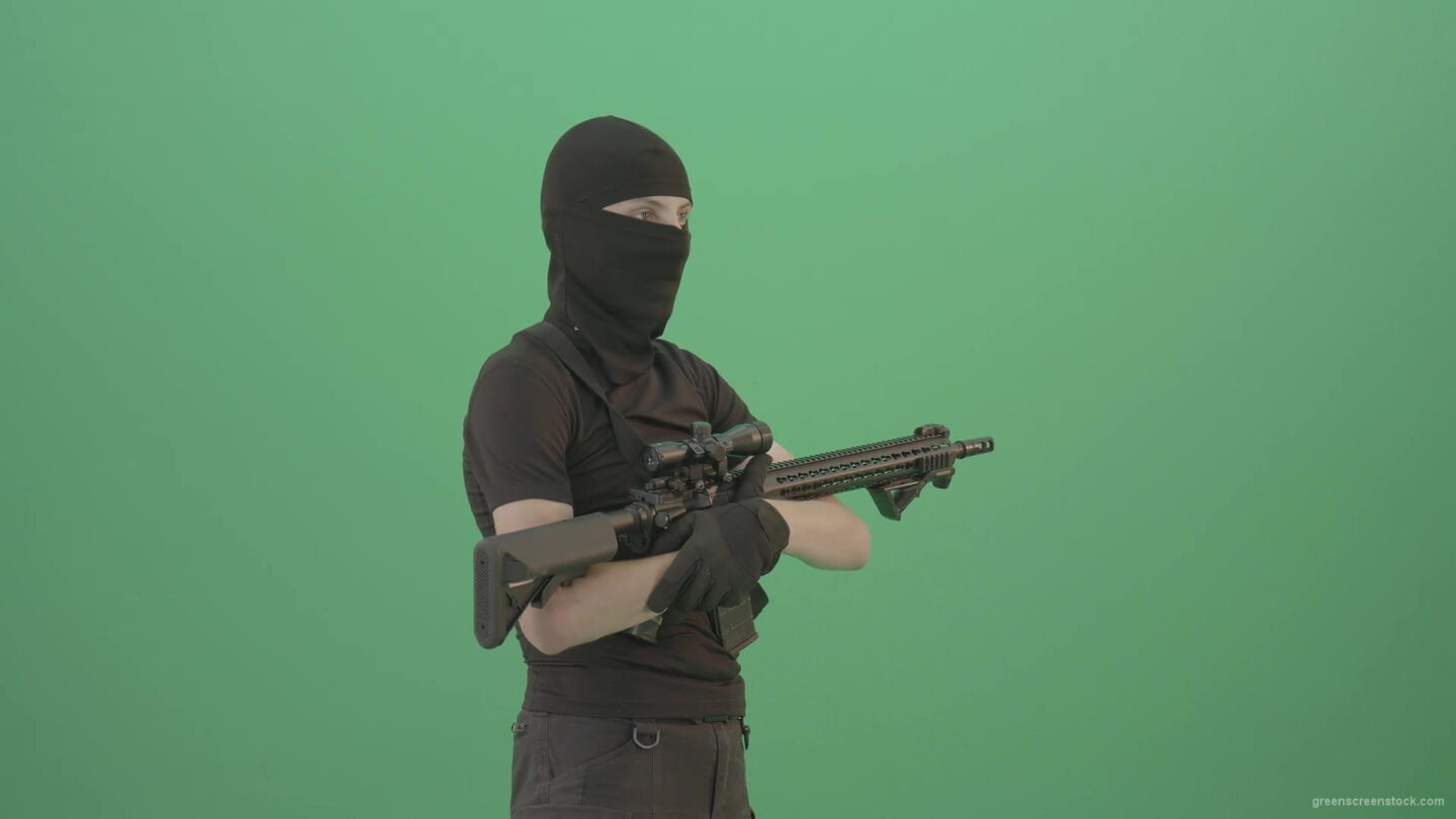 vj video background Soldier-man-with-weapon-looking-enemies-isolated-on-green-screen-4K-Video-Footage-1920_003