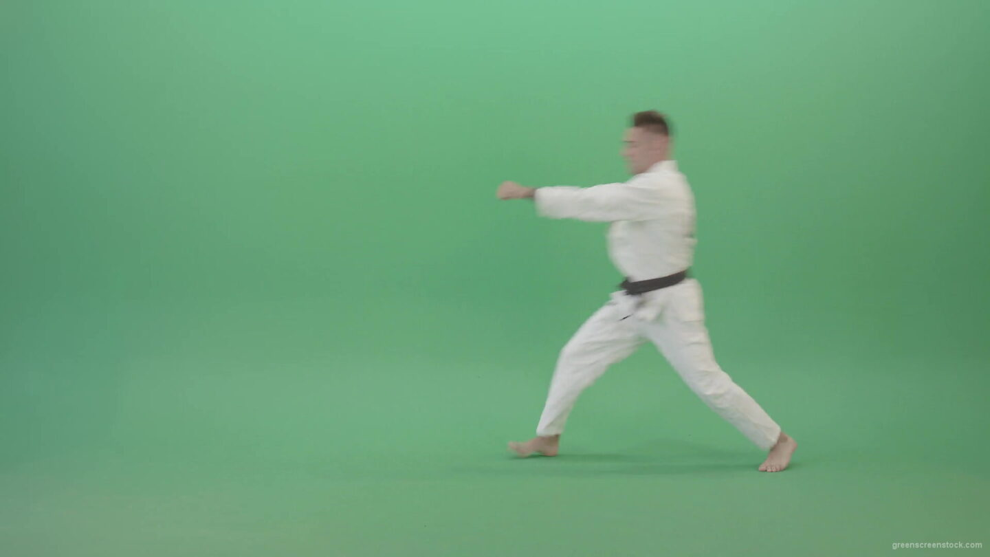 Super-Fighting-Combo-by-Jujutsu-man-in-side-view-isolated-on-green-screen-4K-Video-Footage-1920_006 Green Screen Stock