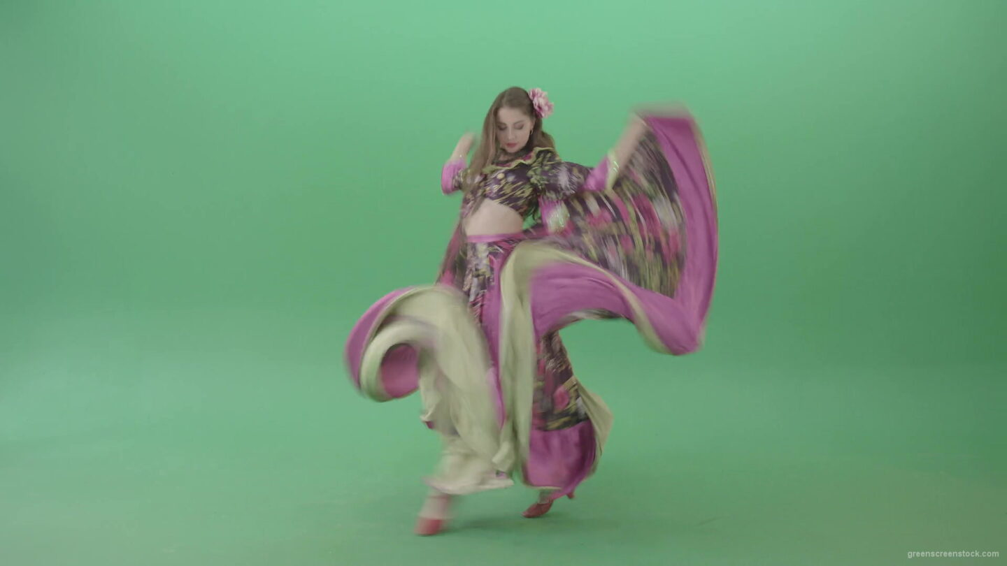 vj video background Tzigane-romana-gypsy-girl-waving-pink-dress-dancing-isolated-in-green-screen-studio-4K-Green-Screen-Video-Footage-1920_003