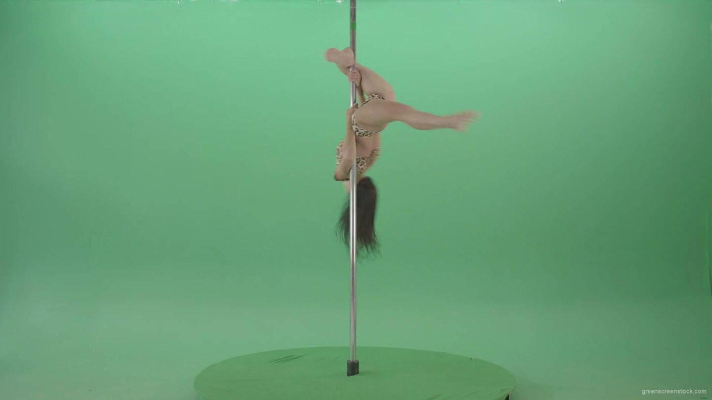 vj video background Woman-on-jaguar-skin-dress-spinning-slowly-on-pilon-making-pole-dance-on-green-screen-4K-Video-Footage-1920_003