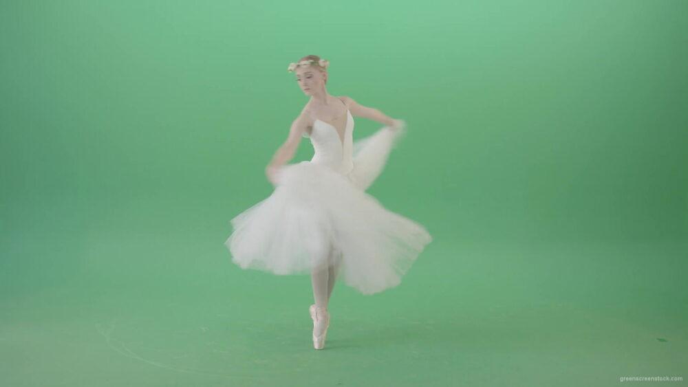 vj video background Ballerina-in-elegance-white-wedding-dress-spinning-in-dance-on-green-screen-4K-Video-Footage-1920_003
