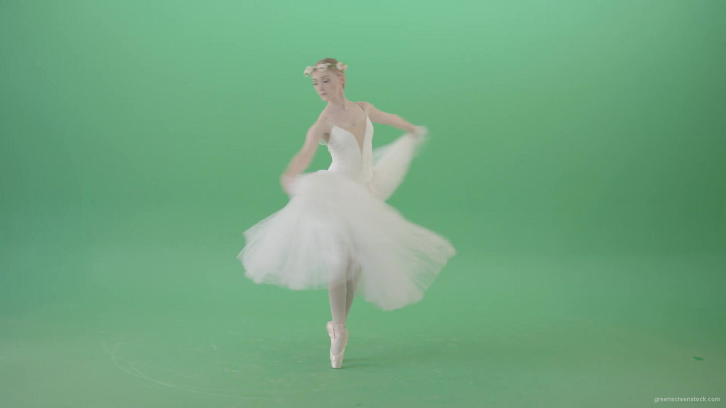 vj video background Ballerina-in-elegance-white-wedding-dress-spinning-in-dance-on-green-screen-4K-Video-Footage-1920_003