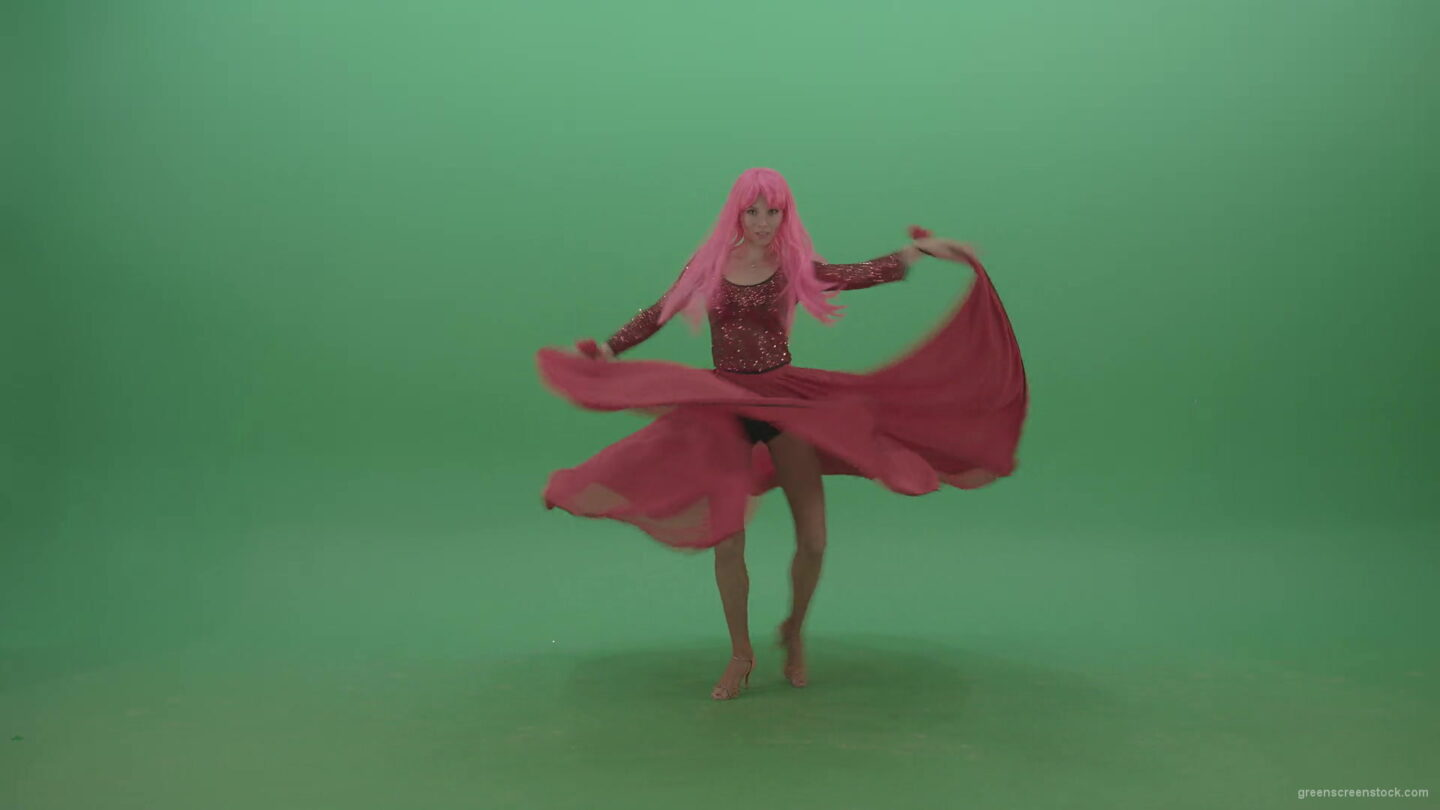 vj video background Beautiful-girl-in-red-dress-and-pink-hair-dancing-flamenco-and-spinning-on-green-screen-4K-Video-Footage-1920_003