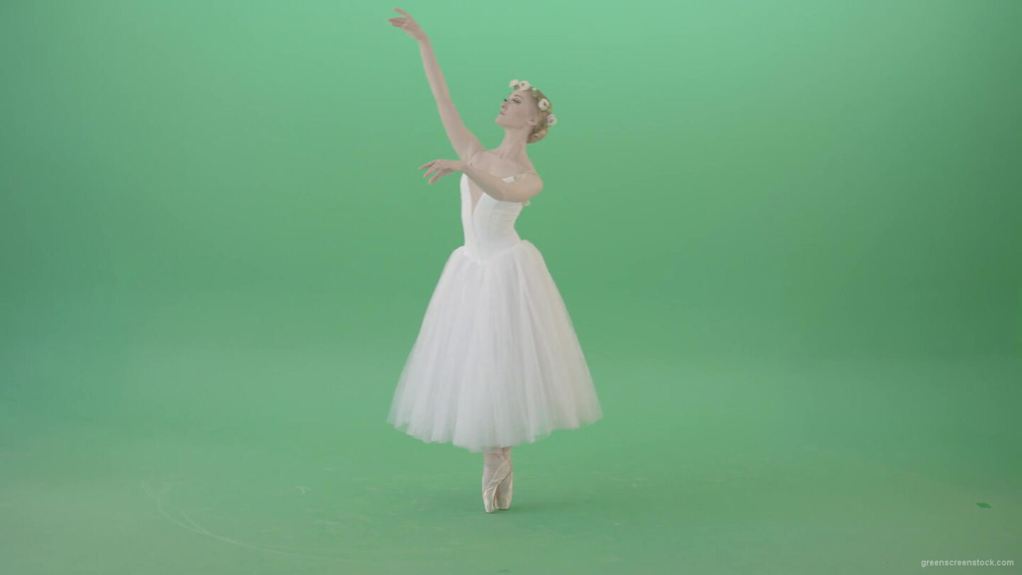 vj video background Blonde-Girl-in-elegant-white-wedding-dress-mowing-away-and-dancing-ballet-art-isolated-on-green-screen-4K-Video-Footage-1920_003