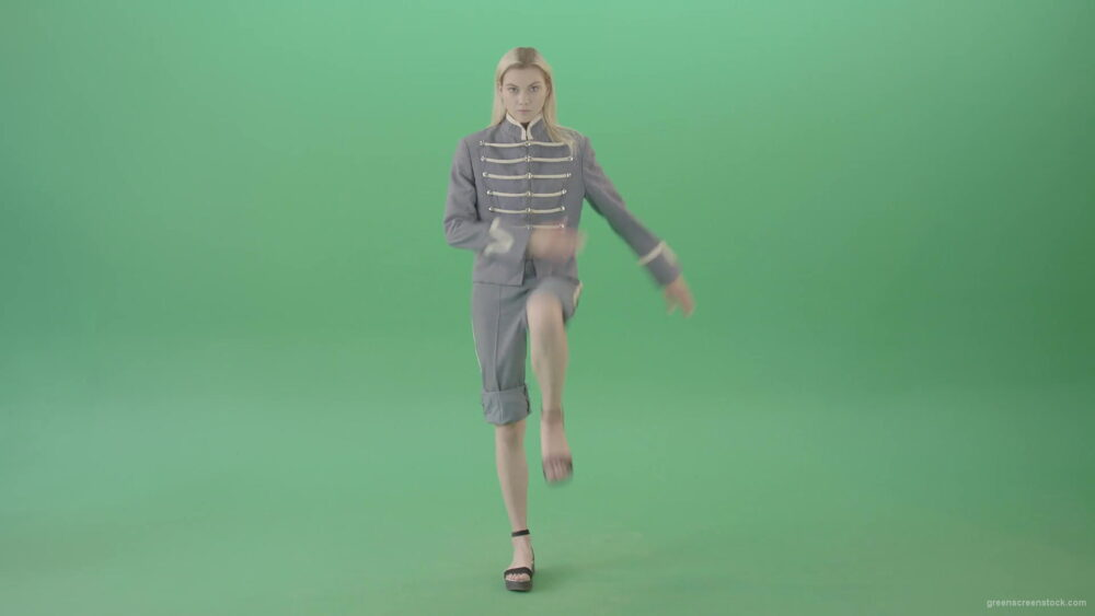 vj video background Blonde-Woman-in-blue-military-royal-empire-uniform-marching-on-green-screen-4K-Video-Footage-1920_003