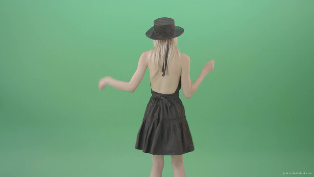 vj video background Blonde-girl-in-black-hat-with-open-back-posing-in-dark-dress-over-green-screen-4K-Video-Footage-1920_003