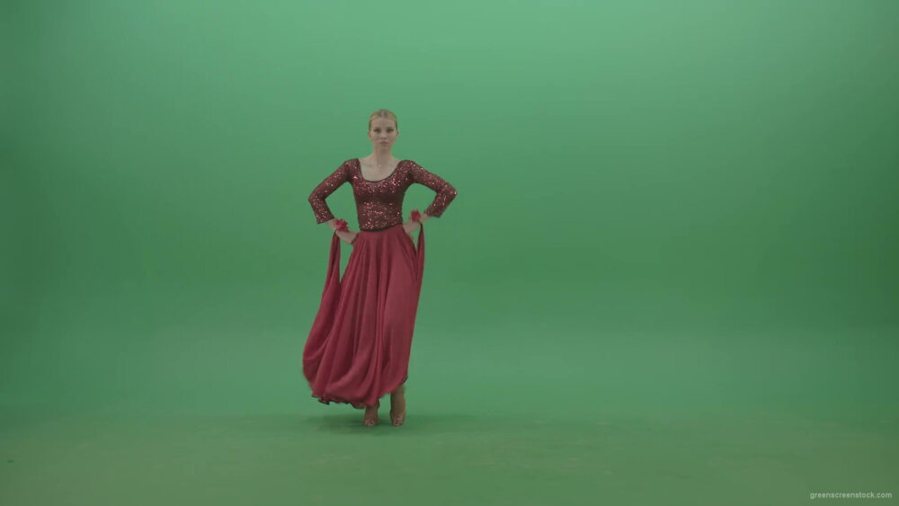 vj video background Blondie-in-red-latino-wear-moving-and-dance-on-green-screen-4K-Video-Footage-1920_003