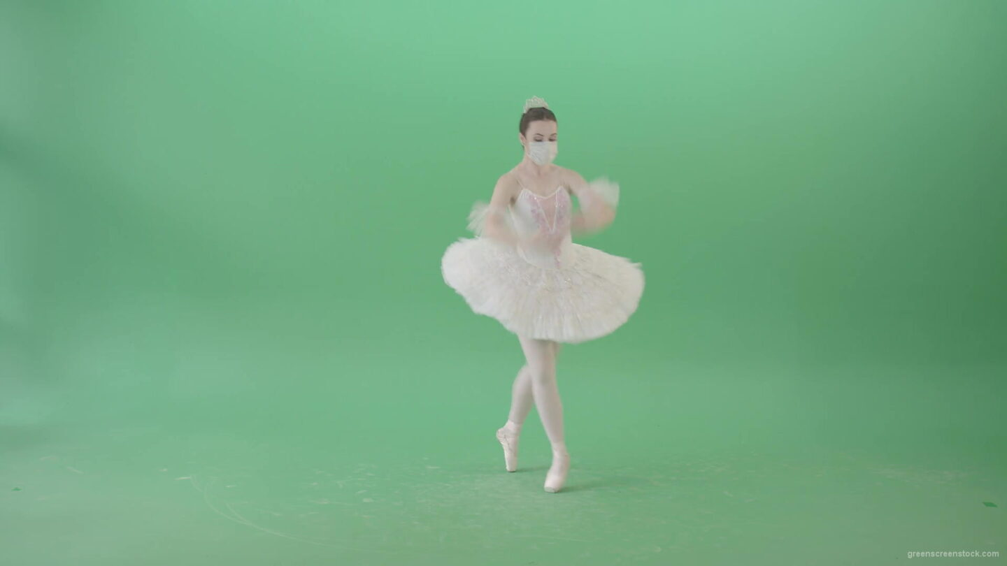 vj video background Dancing-ballerina-Girl-in-Ballet-Dress-and-Covid19-mask-dancing-isolated-on-green-screen-4K-Video-Footage--1920_003