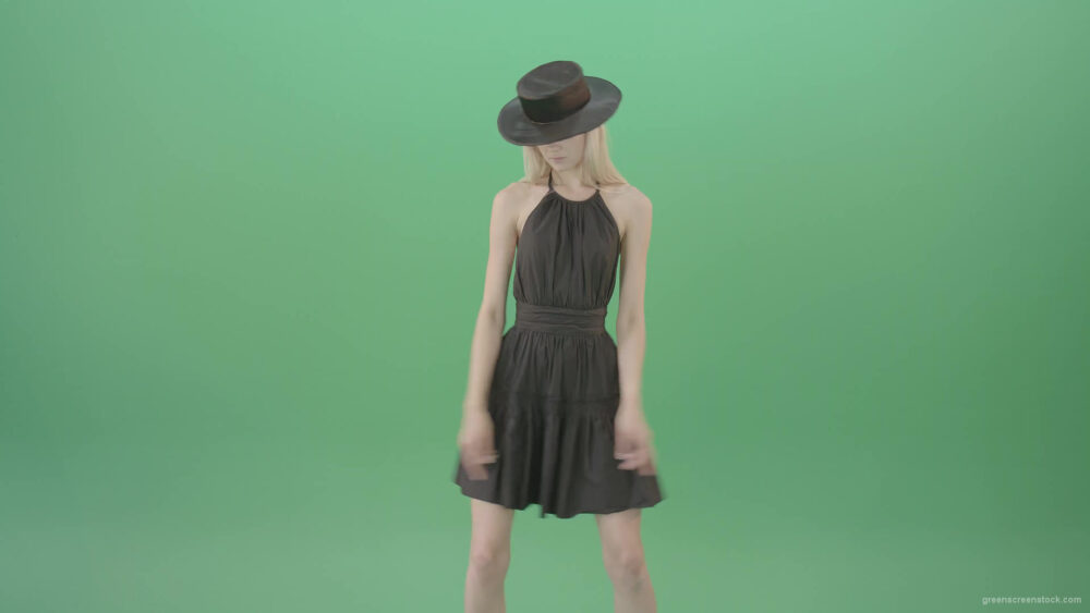vj video background Elegant-girl-in-black-dress-and-hat-chilling-dance-isolated-on-green-screen-4K-Video-Footage-1920_003