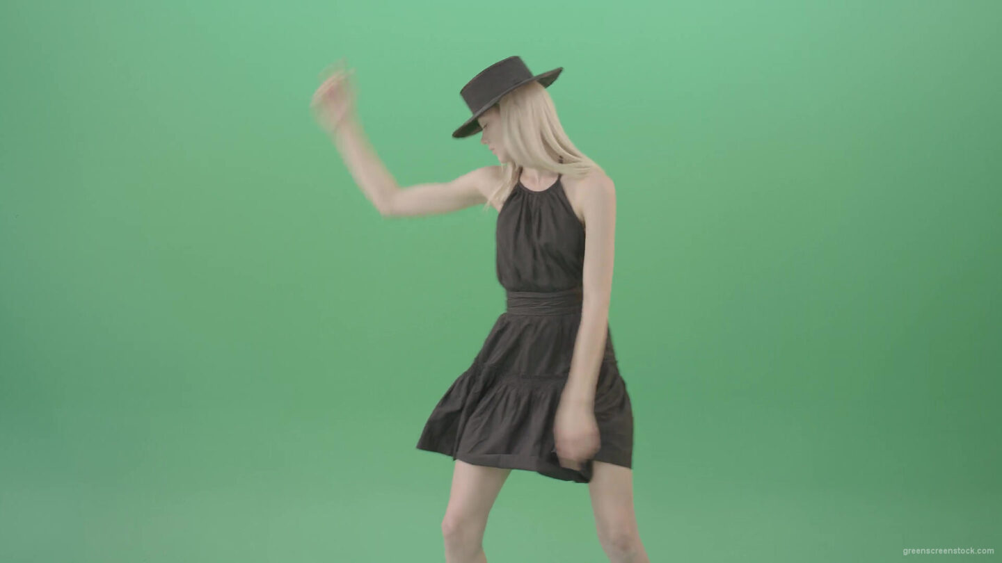 vj video background Fashion-model-in-black-dress-posing-dance-isolated-on-green-background-4K-Video-Footage-1920_003