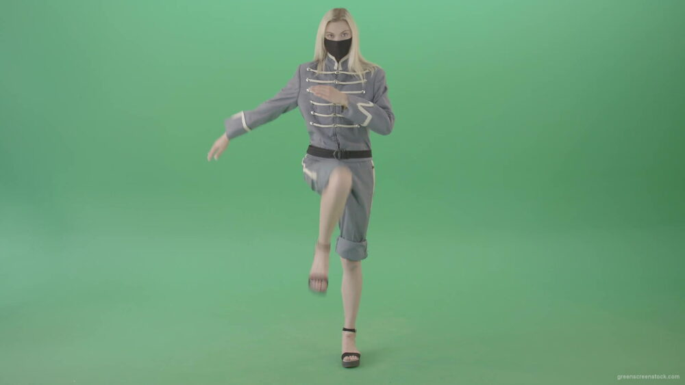 vj video background Female-yound-blonde-girl-in-black-mask-and-military-old-uniform-marching-in-front-over-green-screen-4K-Video-Footage-1920_003