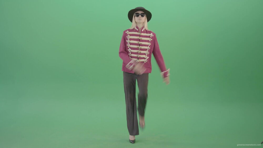 vj video background Girl-in-black-hat-and-red-uniform-marching-in-front-view-on-green-screen-4K-Video-footage-1920_003