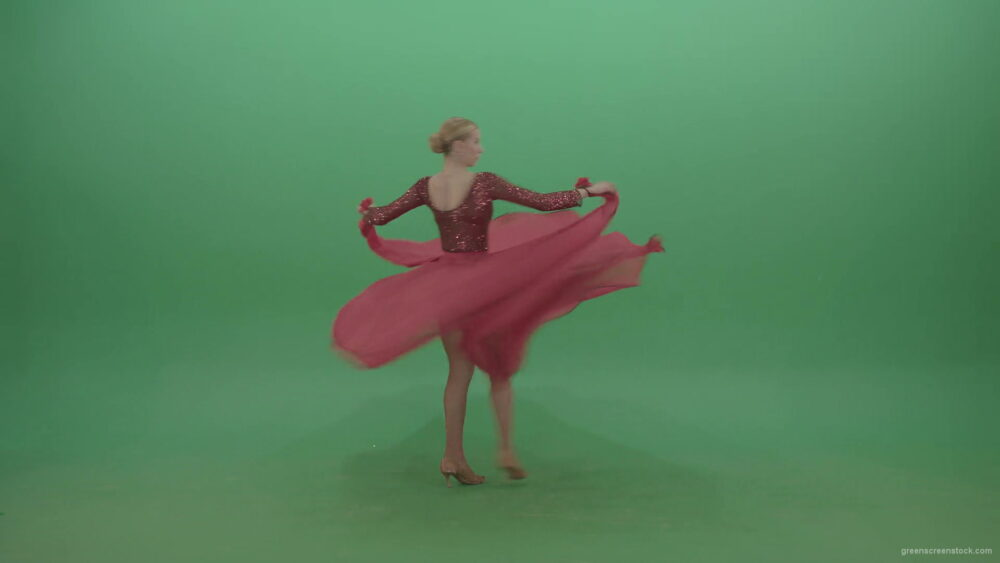 Girl-in-red-dress-moving-from-left-to-right-spinning-in-flower-passion-dance-on-green-screen-4K-Video-Footage-1920_005 Green Screen Stock