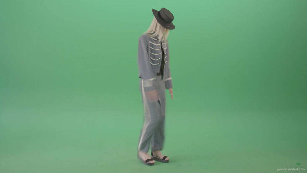 vj video background Girl-in-side-view-and-empire-army-uniform-marching-in-green-screen-studio-4K-Video-Footage-1920_003