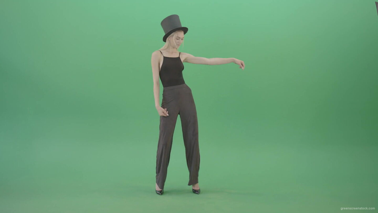 vj video background Girl-with-black-busines-cylinder-hat-dancing-isolated-on-green-background-4K-Video-Footage-1920_003