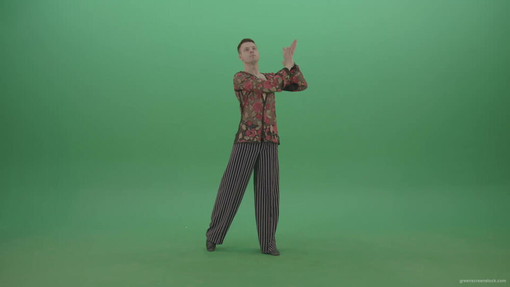 vj video background Man-standing-in-front-view-isolated-on-green-screen-clap-in-hands-4K-Video-Footage-1920_003