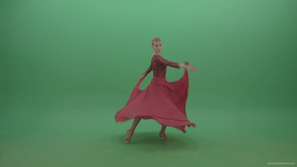 vj video background Passion-elegant-girl-in-red-dress-dancing-flamenco-isolated-on-green-screen-4K-Video-Footage-1920_003