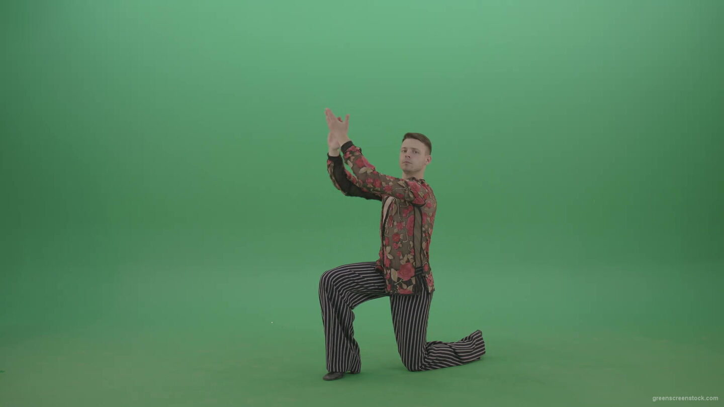 vj video background Rumba-Man-get-down-on-one-knees-and-clapping-in-hands-over-green-screen-4K-Video-Footage--1920_003