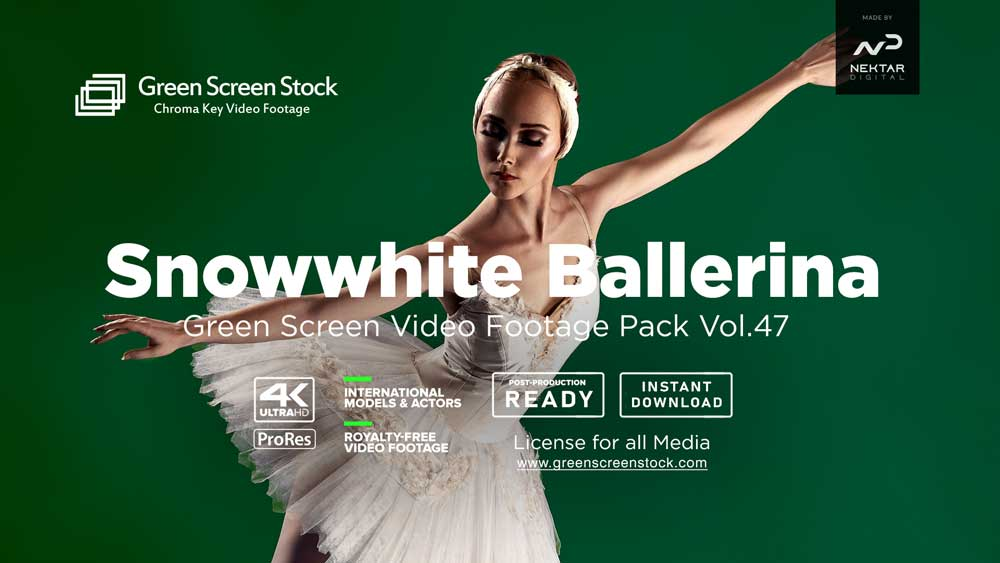 ballet dancing girl ballerina on green screen video footage 4K