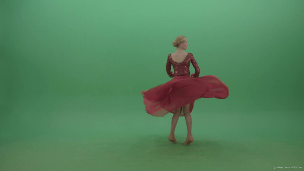 vj video background Spinning-woman-in-red-dress-showing-dance-flamenco-moves-over-green-screen-4K-Video-Footage-1920_003