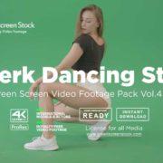 dancing twerk girl on green screen 4K Video Footage