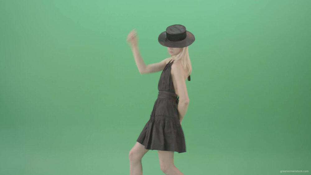 vj video background Video-Art-Fashion-Dance-by-Girl-in-black-outlet-and-dark-hat-on-green-screen-Video-Footage-1920_003
