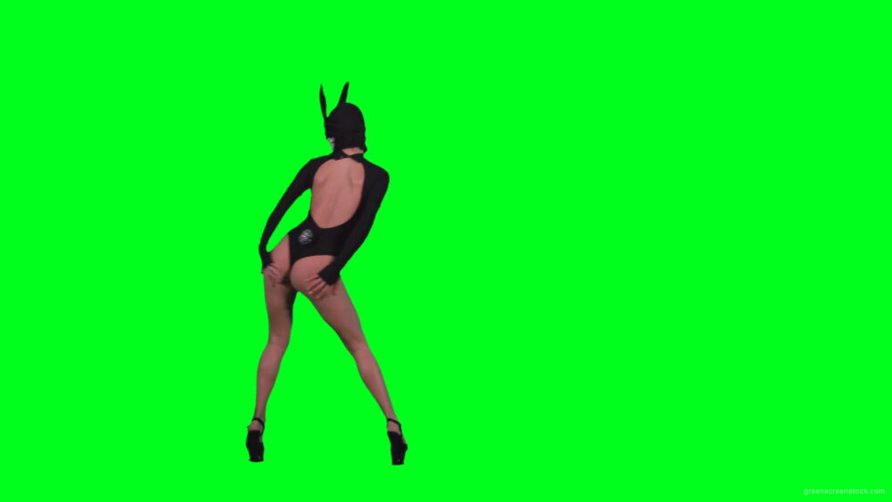 Amazing-black-banny-rabbit-girl-dancing-go-go-isolated-on-green-screen-RAVE-Video-Footage-1920_007 Green Screen Stock