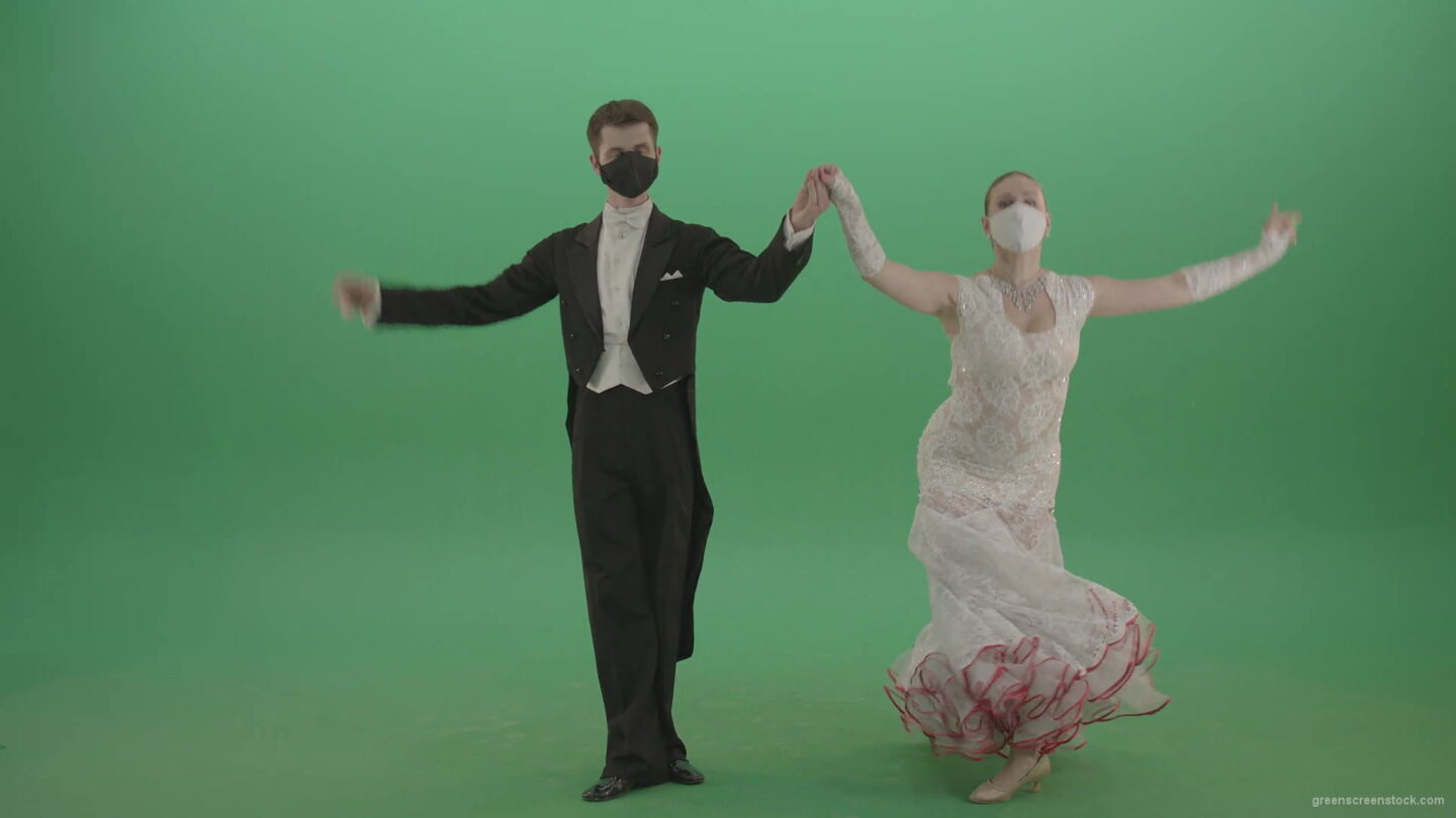 Ballroom-Dancers-Man-and-Woman-making-bowing-regards-and-welcome-Corona-Virus-on-green-screen-4K-Video-Footage-1920_008 Green Screen Stock