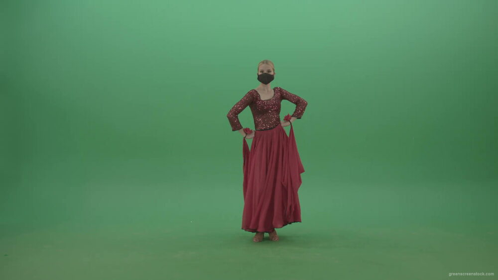 vj video background Beauty-Girl-with-black-mask-in-red-rumba-dress-waving-arms-isolated-on-green-screen-4K-Video-Footage-1920_003