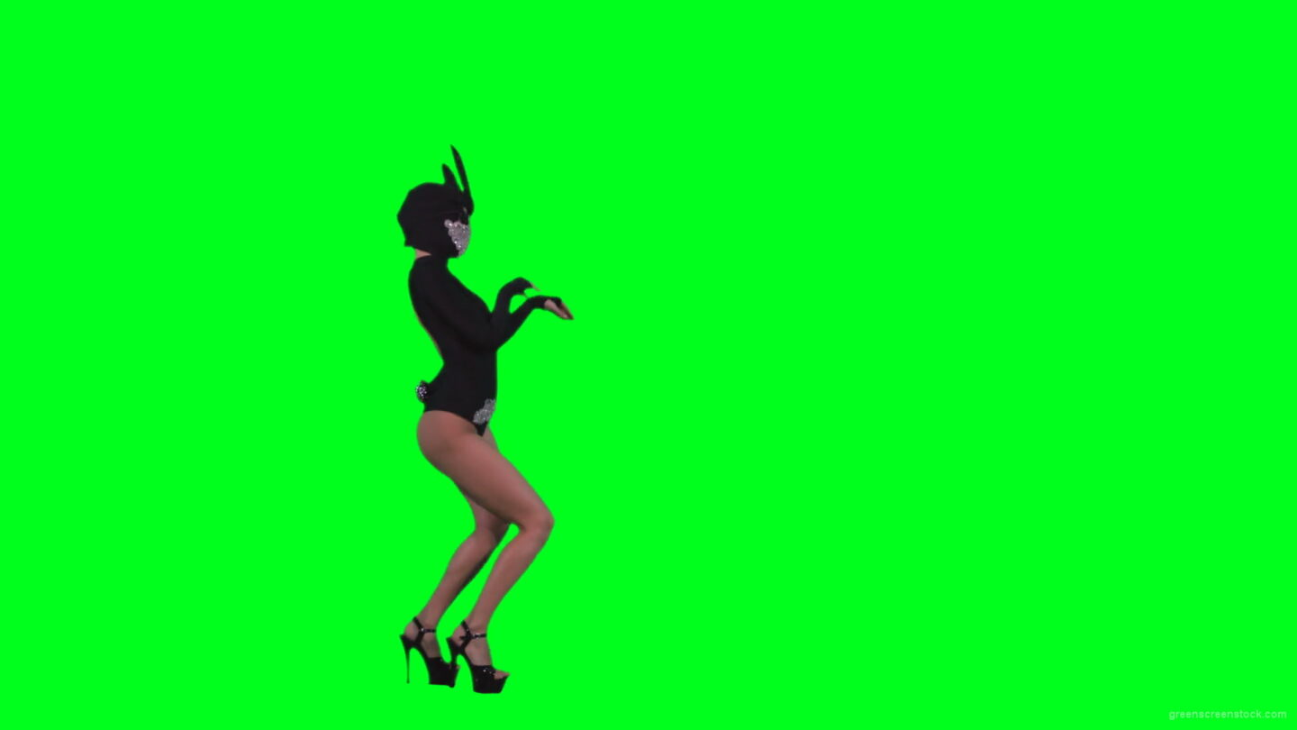 Black-Occult-Banny-Rabbit-dancing-girl-jumping-isolated-on-green-screen-4K-Video-Footage-1920_006 Green Screen Stock