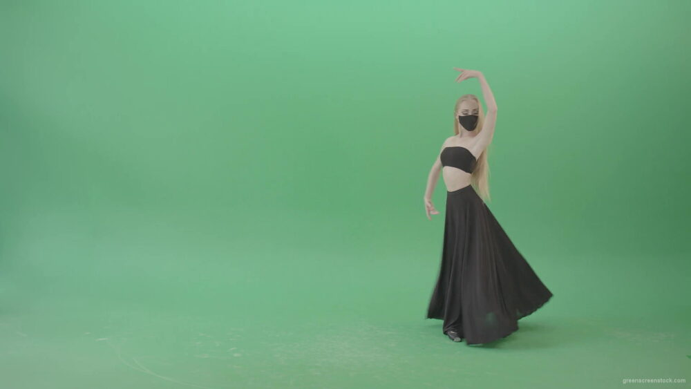 vj video background Blonde-Ballet-girl-in-black-dress-and-mask-dancing-Corona-Virus-flamenco-on-green-screen-4K-Video-Footage-1920_003