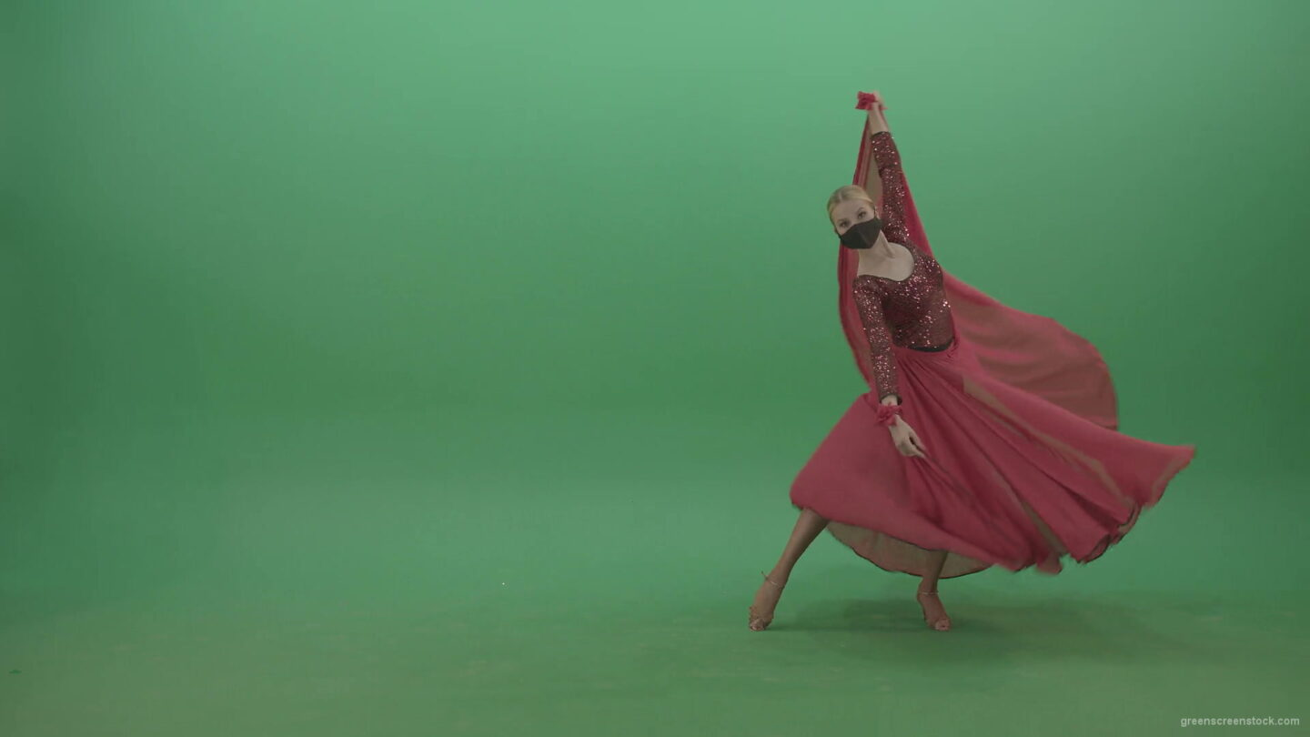 Blonde-Girl-in-red-Flamenco-Dress-makes-spinning-bowing-isolated-on-green-screen-4K-Video-Footage-1920_009 Green Screen Stock