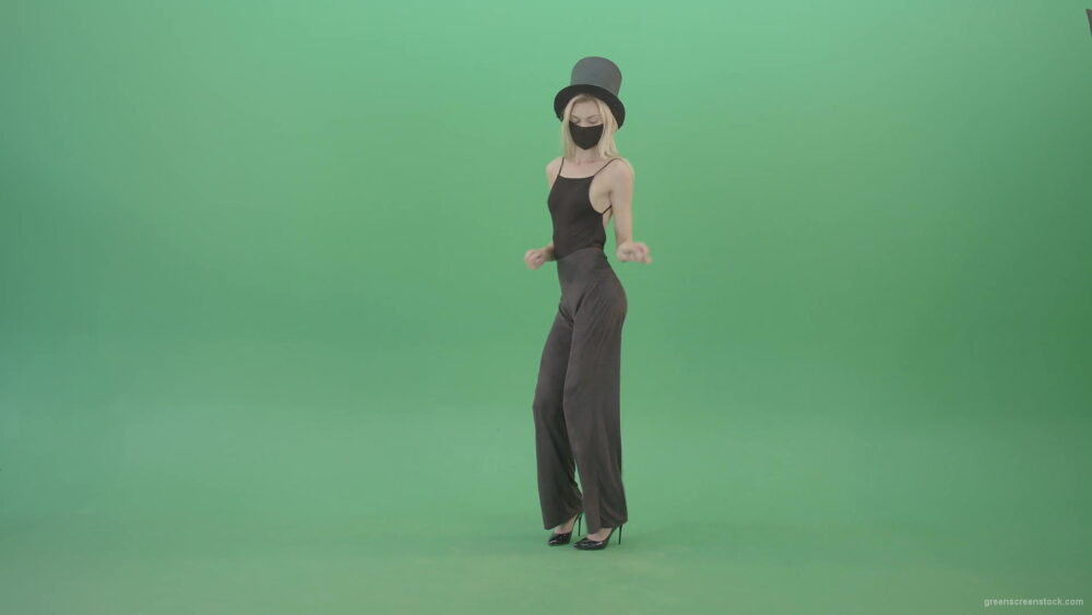 vj video background Covid-Mask-Girl-in-Black-cylinder-Hat-dancing-in-front-and-back-side-view-isolated-on-green-screen-Video-Footage-1920_003