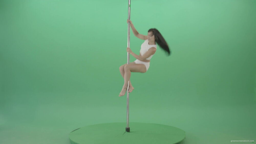 vj video background Dark-Hair-Girl-in-White-body-dress-underwear-spinning-on-the-pilon-showing-exotic-dance-over-green-screen-4K-Video-Footage-1920_003