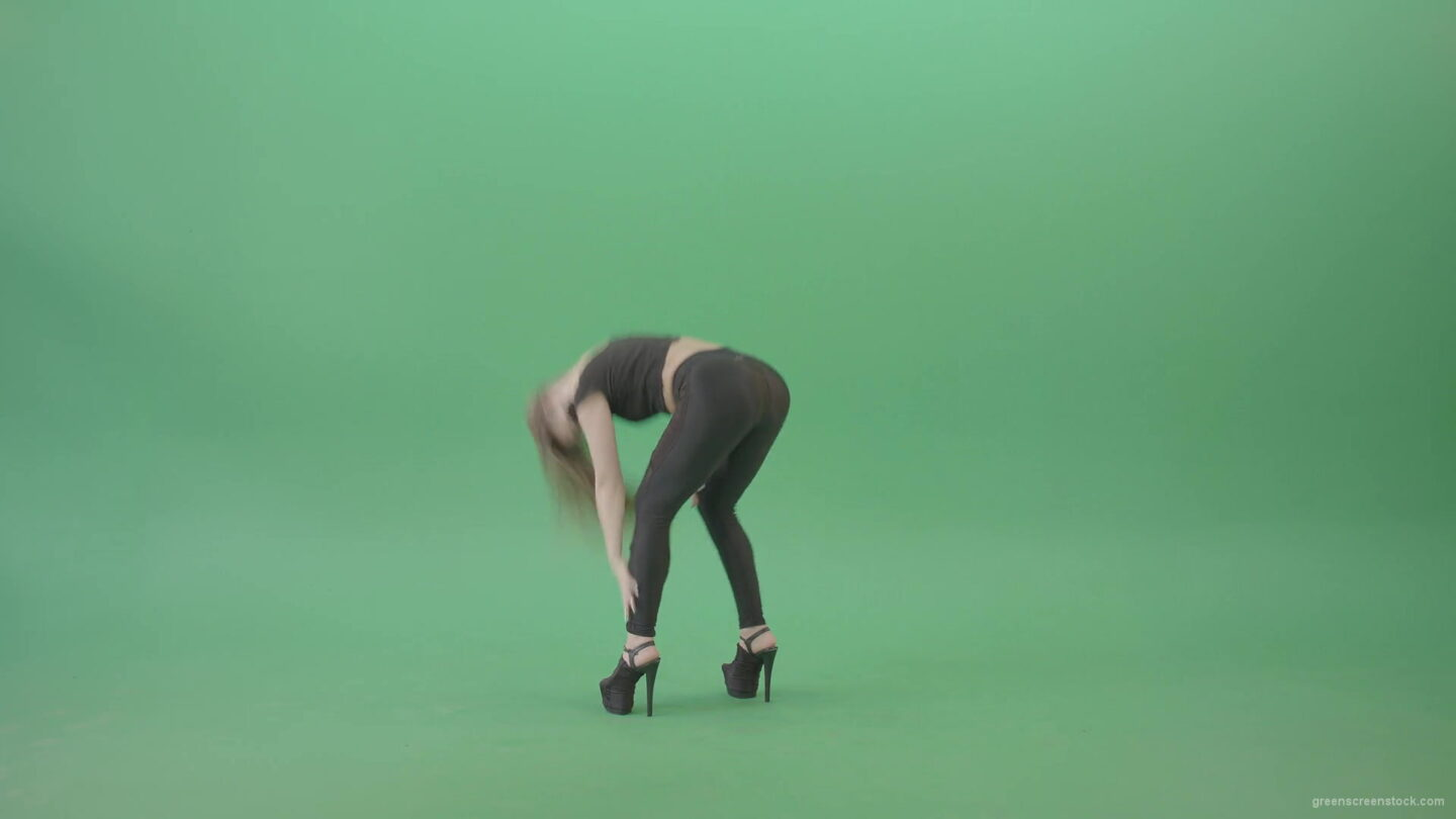 vj video background Exotic-sexy-dance-by-girl-in-black-latex-dress-isolated-on-green-screen-4K-Video-Footage-1920_003