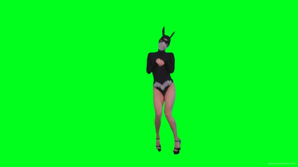 vj video background Go-Go-Dancing-Girl-in-Rabbit-Mask-jumping-in-black-costume-on-Green-Screen-4K-Video-Footage-1920_003