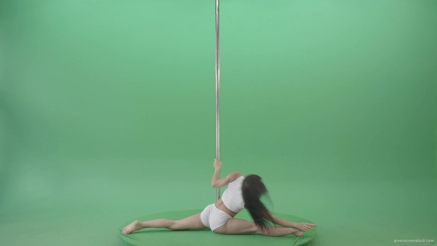 Go-Go-Girl-in-white-dress-spinning-on-the-pole-and-sit-on-a-twine-on-green-screen-4K-Video-Footage-1920_009 Green Screen Stock